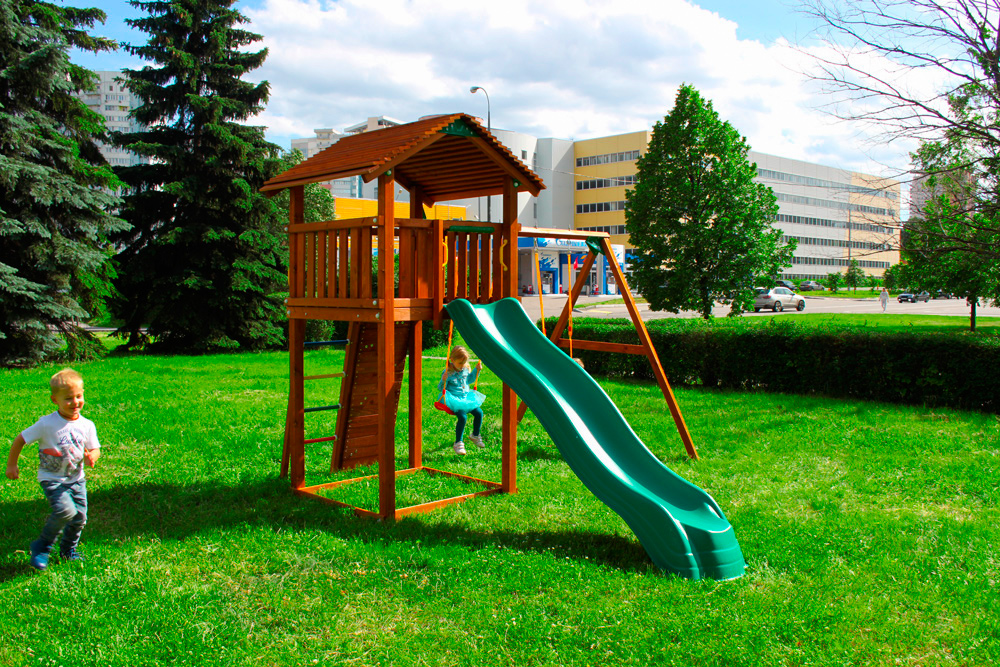 Детский городок Jungle Gym Cottage + Swing Module Xtra + Rock Module