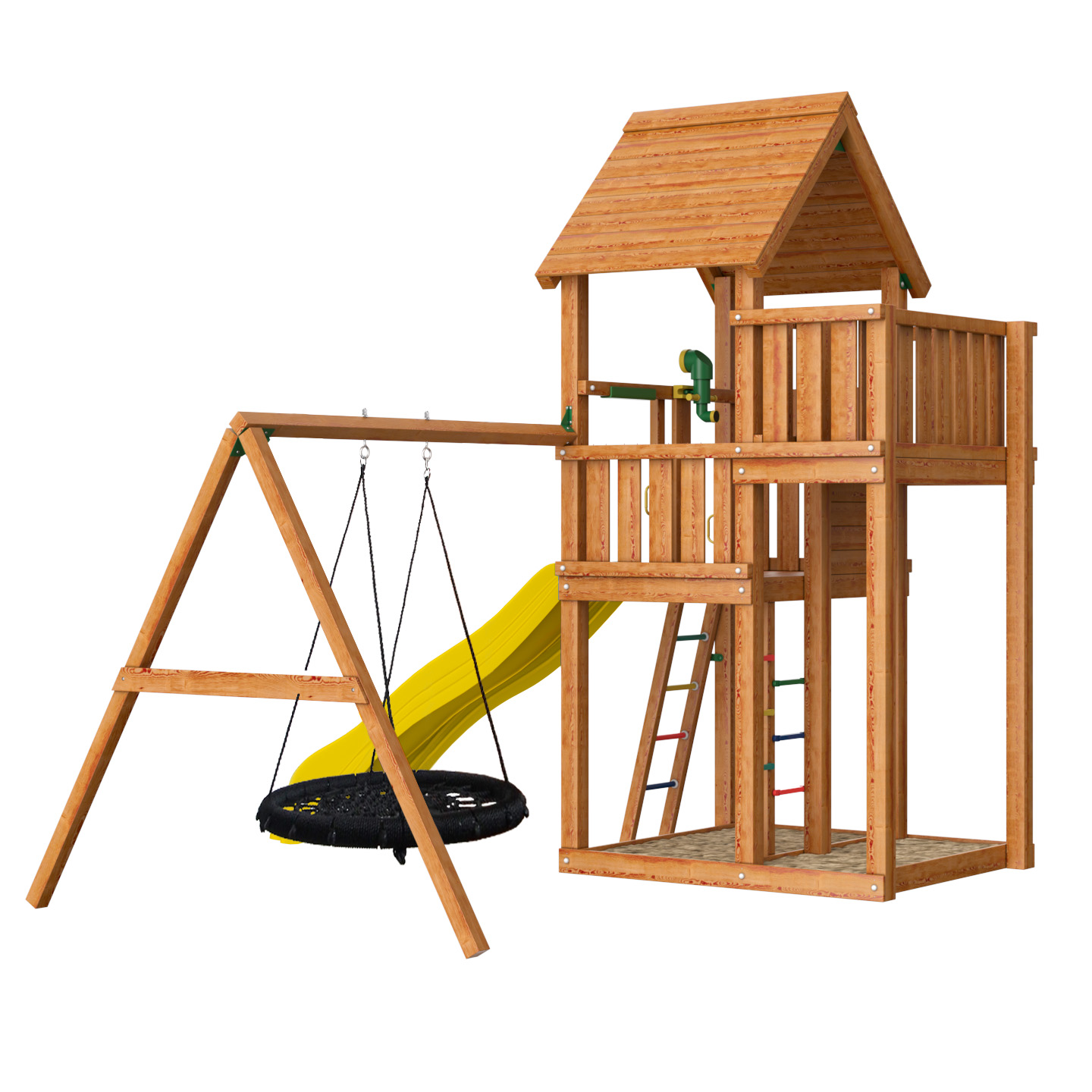 Детский городок Jungle Gym Cottage + Swing Module Xtra + Rock Module + Рукоход